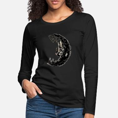 Half Moon Moon Cat - Black Half Moon Sailor Mom Gift Perls - Women's Premium Longsleeve Shirt