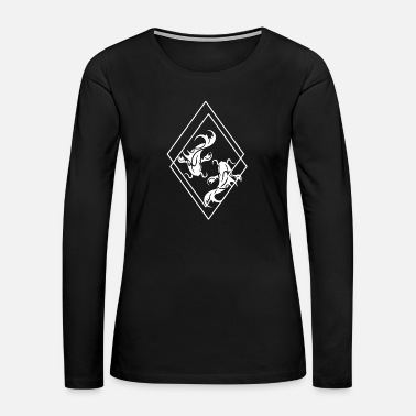 Koi Koi fish water tattoo gift pond black geometric - Women's Premium Long Sleeve T-Shirt