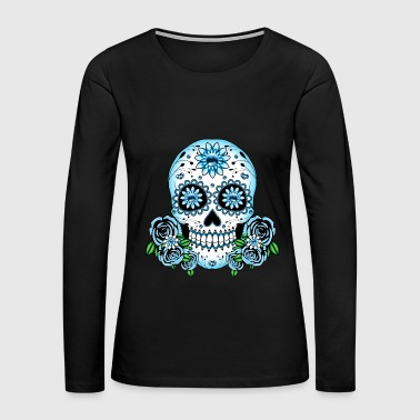 Blue Sugar Skull - Women's Premium Long Sleeve T-Shirt