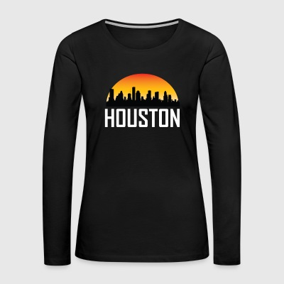 Sunset Skyline Silhouette of Houston TX - Women's Premium Long Sleeve T-Shirt