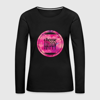 choose happy circle pink marble - Women's Premium Long Sleeve T-Shirt