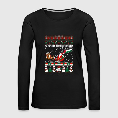 Palestinian Through Snow Ugly Christmas Sweater - Women's Premium Long Sleeve T-Shirt