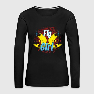 FLY FISHING GIRL SHIRT - Women's Premium Long Sleeve T-Shirt