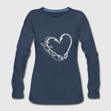 Fishing Hook Heart T Shirt - Women's Premium Long Sleeve T-Shirt