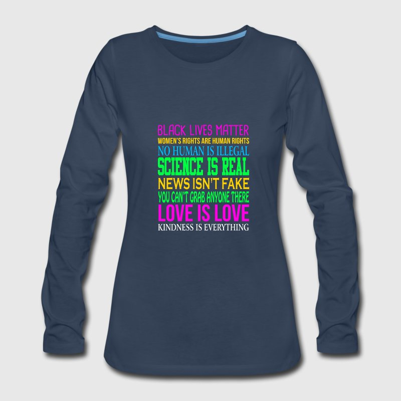 Love Is Love Science Is Real  News Isn't Fake Quotes - Women's Premium Long Sleeve T-Shirt