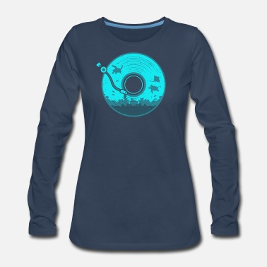 Under Water Vinyl with Under Water Scenery - Women's Premium Long Sleeve T-Shirt