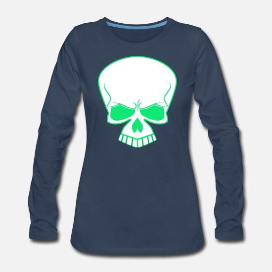 Trend Long-Sleeve Shirts - Streetwear skull awesome cool t_shirt vector image - Women's Premium Longsleeve Shirt navy