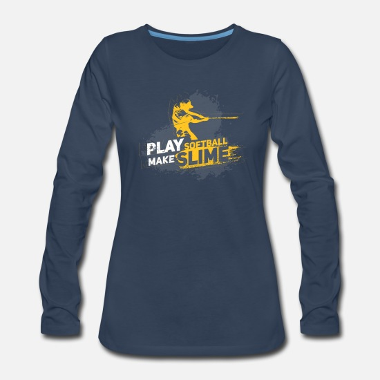 Play Long-Sleeve Shirts - Girls Softball Make Slime - Women's Premium Longsleeve Shirt navy