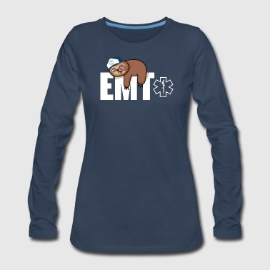 Firefighter EMT Sloth Gift - Women's Premium Long Sleeve T-Shirt