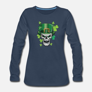 Pot Of Gold Parade Green Beer Skull Paddy Hat Shirt & Gift - Women's Premium Long Sleeve T-Shirt