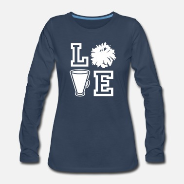 Megaphone Cheerleading - LOVE with Megaphone and Pom Pom - Women's Premium Longsleeve Shirt