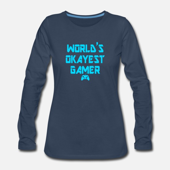 Illusion Long-Sleeve Shirts - World's Okayest Gamer Funny Gaming - Women's Premium Longsleeve Shirt navy