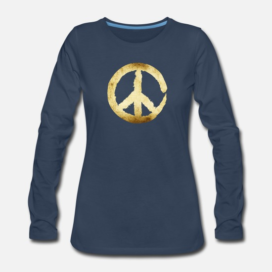 Peace Long-Sleeve Shirts - peace symbol gold - Women's Premium Longsleeve Shirt navy
