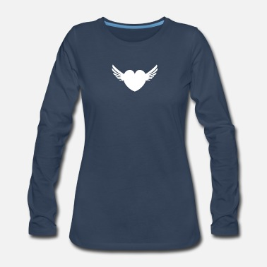Heart With Wings Winged Heart - White - Women's Premium Long Sleeve T-Shirt