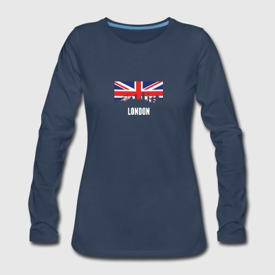 British Flag London Skyline - Women's Premium Long Sleeve T-Shirt