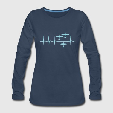 Heartbeat Airplane Spotter Spotting Shirt Gift - Women's Premium Long Sleeve T-Shirt