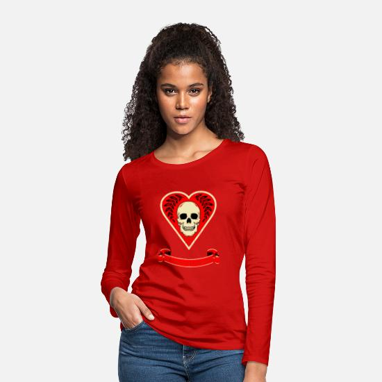 Poker Long-Sleeve Shirts - Death of Heart Card - Women's Premium Longsleeve Shirt red