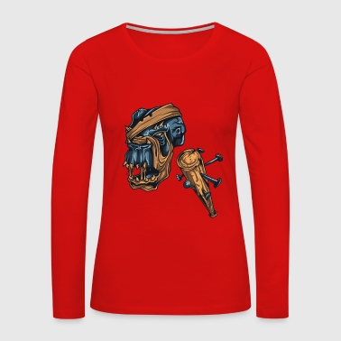 Zombie Monster Weapon Scary Design Painting draw - Women's Premium Long Sleeve T-Shirt
