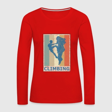 Retro Vintage Style Rock Climbing Climber Mountain - Women's Premium Long Sleeve T-Shirt