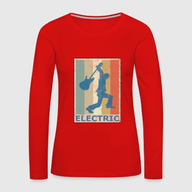 Retro Vintage Style Electric Guitar Player - Women's Premium Long Sleeve T-Shirt