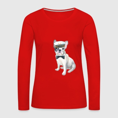 Frenchie French Bulldog black bow tie Captains Hat Dogs In Clothes - Women's Premium Long Sleeve T-Shirt