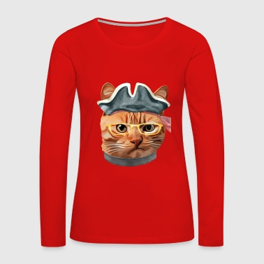 Cat Kitty Kitten In Clothes Yellow Glasses PIRATE HAT - Women's Premium Long Sleeve T-Shirt