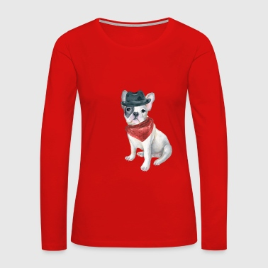 Frenchie French Bulldog Gangster Hat Bandana Red Dogs In Clothes - Women's Premium Long Sleeve T-Shirt