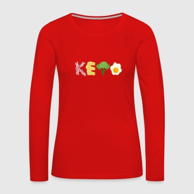 Keto Bacon Cheese Broccoli Egg Letters - Women's Premium Long Sleeve T-Shirt