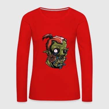 Monster Scary Orc Green Roses Vector painting Art - Women's Premium Long Sleeve T-Shirt