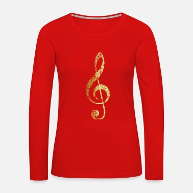 Treble G-Clef - Treble Clef (Ancient Gold) - Women's Premium Long Sleeve T-Shirt