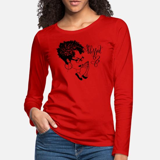 Black Woman Praying Blessed God Quotes Curly Hair Women's