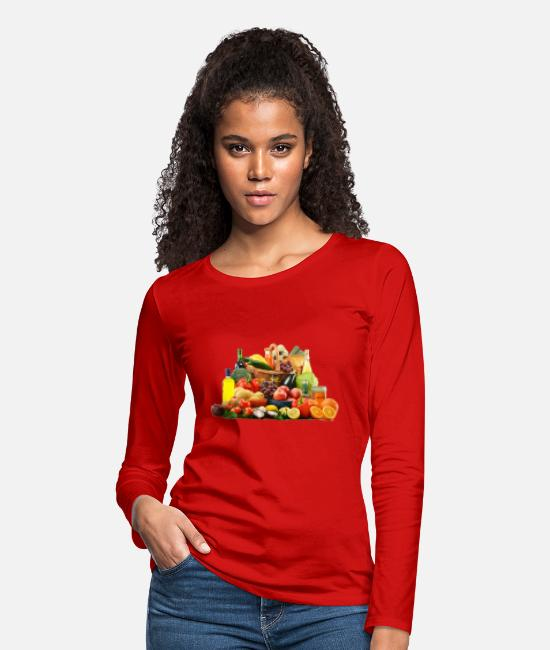 Freestyle Long-Sleeved Shirts - fruit free - Women's Premium Longsleeve Shirt red