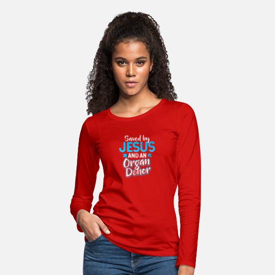 Heart Long-Sleeve Shirts - Organ Donor Saved by Jesus Gift - Women's Premium Longsleeve Shirt red