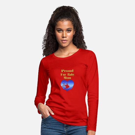 Cat Long-Sleeve Shirts - Proud Fur Baby Mom Gifts - Women's Premium Longsleeve Shirt red