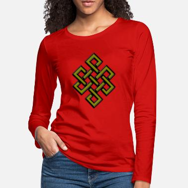 Symbol Golden Karma Endless Knot or Eternal Knot Symbol - Women's Premium Longsleeve Shirt
