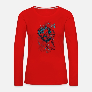 Iguana T-Shirt vintage iguana lizard animal vector image - Women's Premium Long Sleeve T-Shirt