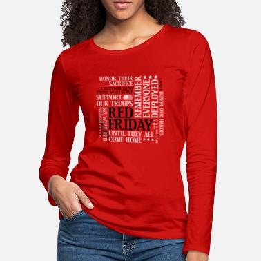 Remember Red Friday Support Our Troops Military Word Cloud - Women's Premium Longsleeve Shirt