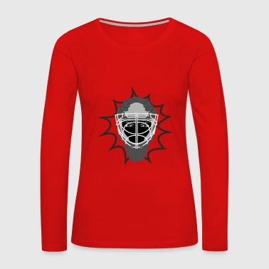 Ice hockey helmet protective grill and evil eyes - Women's Premium Long Sleeve T-Shirt