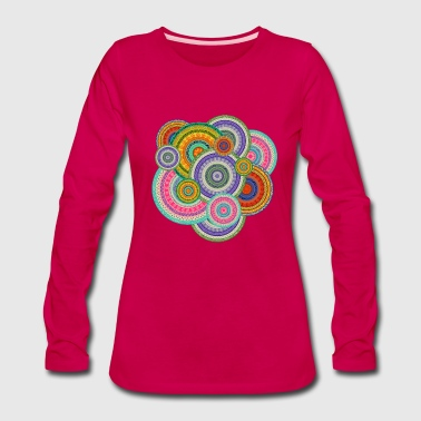 Colorful  Tribal Boho Ethnic Circular Pattern - Women's Premium Long Sleeve T-Shirt