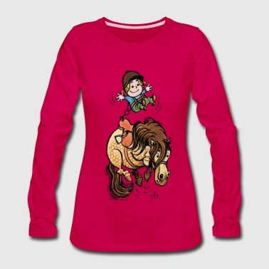 Thelwell Funny Illustration Bucking Horse - Women's Premium Long Sleeve T-Shirt