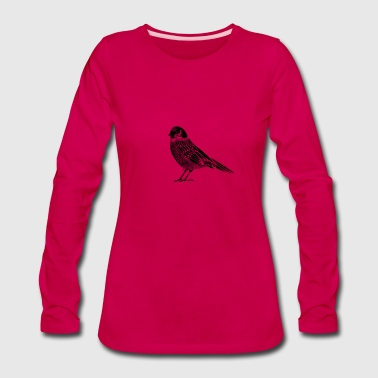 Black and white drawing of a bird - Women's Premium Long Sleeve T-Shirt