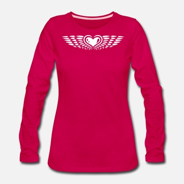 Heart With Wings Heart with wings. Winged heart. - Women's Premium Long Sleeve T-Shirt
