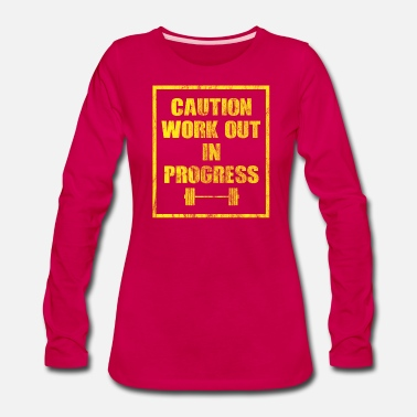 Muscular Caution work out in progress - Women's Premium Long Sleeve T-Shirt