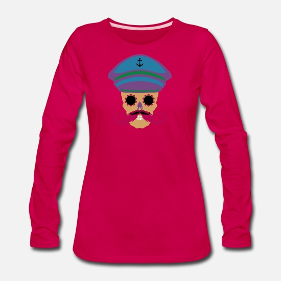 Skull And Bones Long-Sleeve Shirts - skull hipster bearded beard - Women's Premium Longsleeve Shirt dark pink