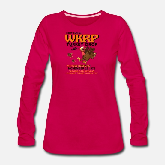 Fundraiser Long-Sleeve Shirts - First annual WKRP Turkey Drop with Les Nessman - Women's Premium Longsleeve Shirt dark pink