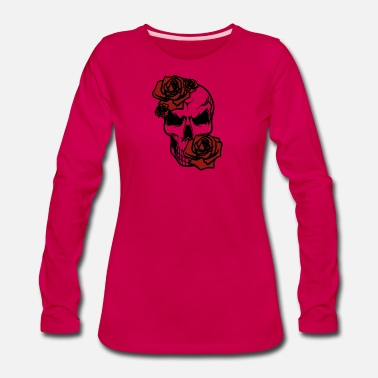 Skull Funny Skull with roses Shirt | Perfect Gift Idea - Women's Premium Longsleeve Shirt