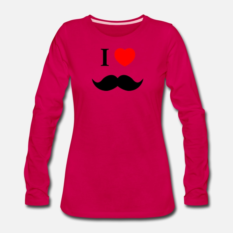 Movie Long sleeve shirts - I Love Heart Moustache Tumblr - Women's Premium Longsleeve Shirt dark pink