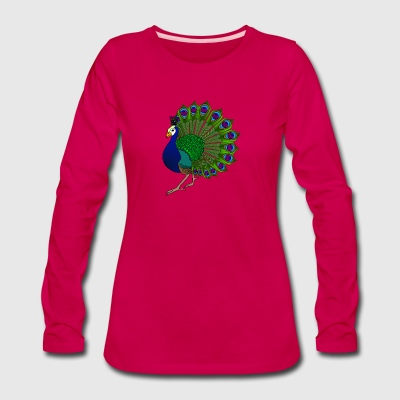 peacock bird wildlife cool illustration art image - Women's Premium Long Sleeve T-Shirt