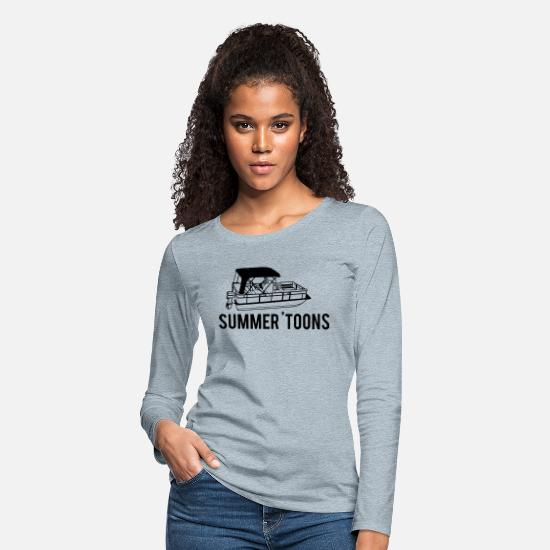 Boat Long-Sleeve Shirts - Pontoon - Women's Premium Longsleeve Shirt heather ice blue