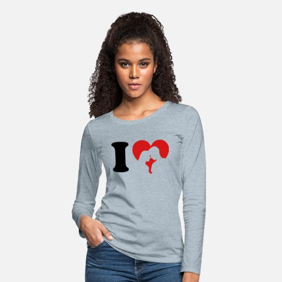 Love Long-Sleeve Shirts - I Love - Women's Premium Longsleeve Shirt heather ice blue